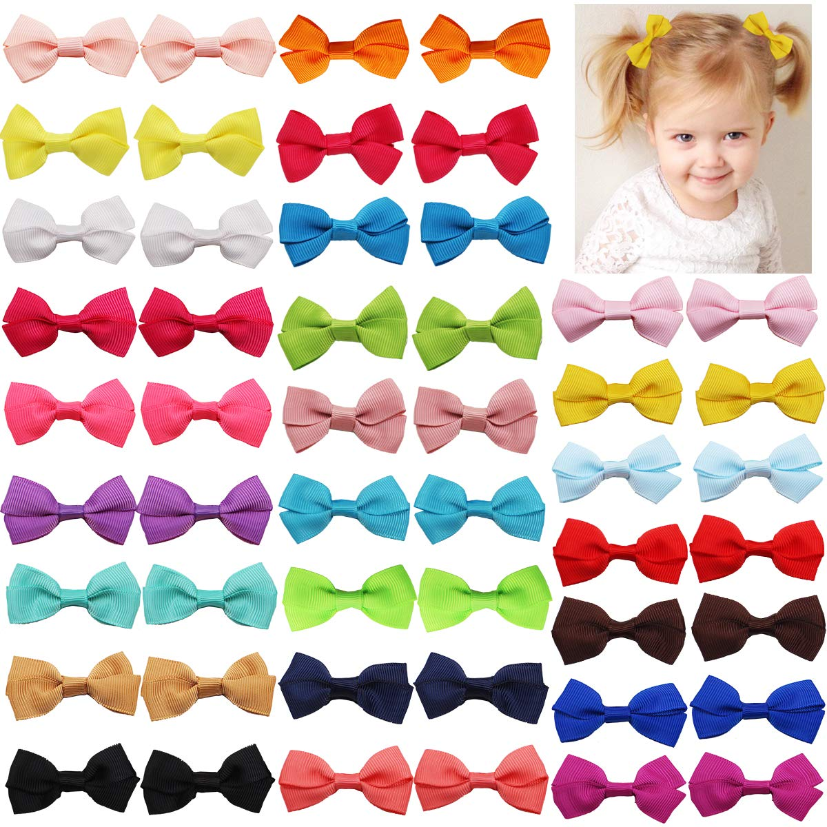 50PCS Ranking TOP7 Tiny Baby Girls Hair Bows 2 Inch Wit 2021 autumn and winter new Ribbon Grosgrain
