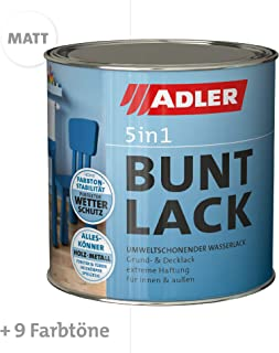 ADLER 5in1 Buntlack für Innen und Außen - Matt - 125 ml - Wetterfester Lack und Grundierung für Holz, Metall & Konstoff, RAL9016 Verkehrsweiß