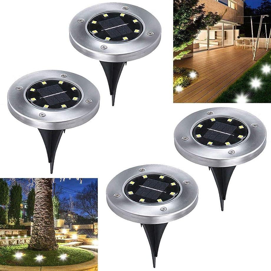 涙が出る図書館意義埋め込み式ソーラーライト 4個セット 32LED 光センサーで夜間自動点灯ライト 車道 歩道のライトアップに適用 (電球色)