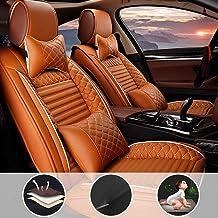 Asientos de Auto de para automóvil Cubiertas Juego Completo de 5 Asientos Universal para V W Touareg Hybrid con reposacabezas y cojín Lumbar Naranja