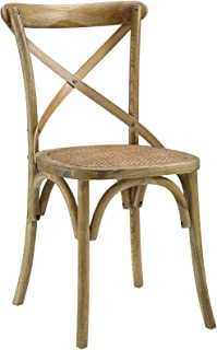 Modway Gear Rustic Farmhouse Elm Wood Rattan Kitchen and Dining Room Chair in Natural - Fully Assembled