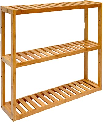 Dunedesign Wandregal 54x60x15cm Bambus Bad Regal 3 Facher Holz Ablage Badezimmer Hangeregal Aufbewahrung Kuche Amazon De Kuche Haushalt