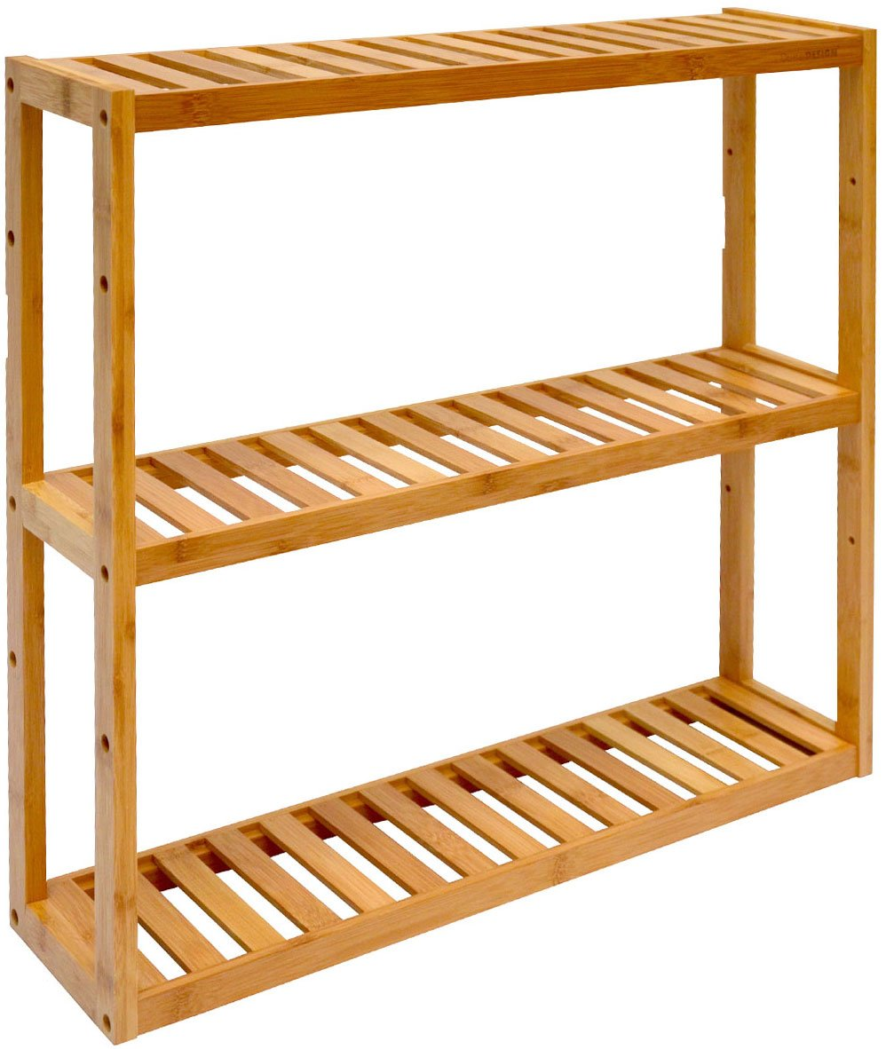 DuneDesign Wandregal 20x20x20cm Bambus Bad-Regal 20 Fächer Holz Ablage  Badezimmer Hängeregal Aufbewahrung Küche
