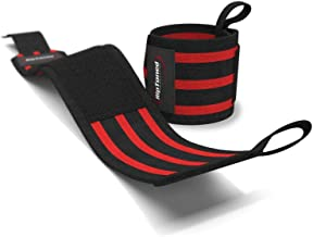 Weight Lifting Bar Straps Gym Bodybuilding Wrist Support Wraps Black and red