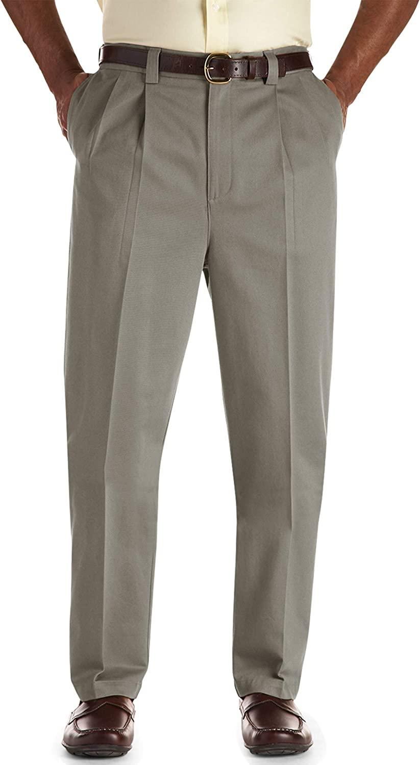 Oak Hill by DXL Big and Tall Waist-Relaxer Premium Pleated Pants