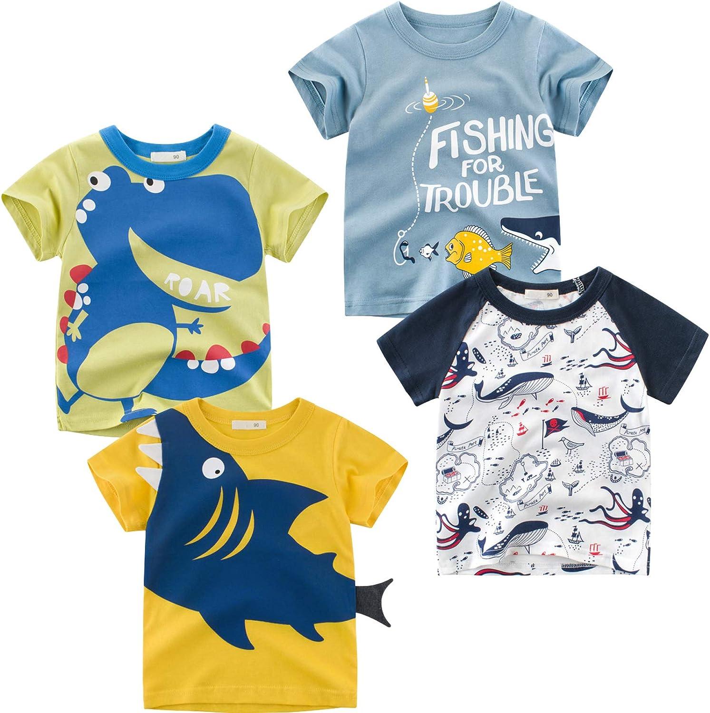 Kivors Toddler Boys' 4-Pack Dinosaur Short-Sleeve Crewneck T-Shirts Cartoon Top Tee Size for 2-6 Years