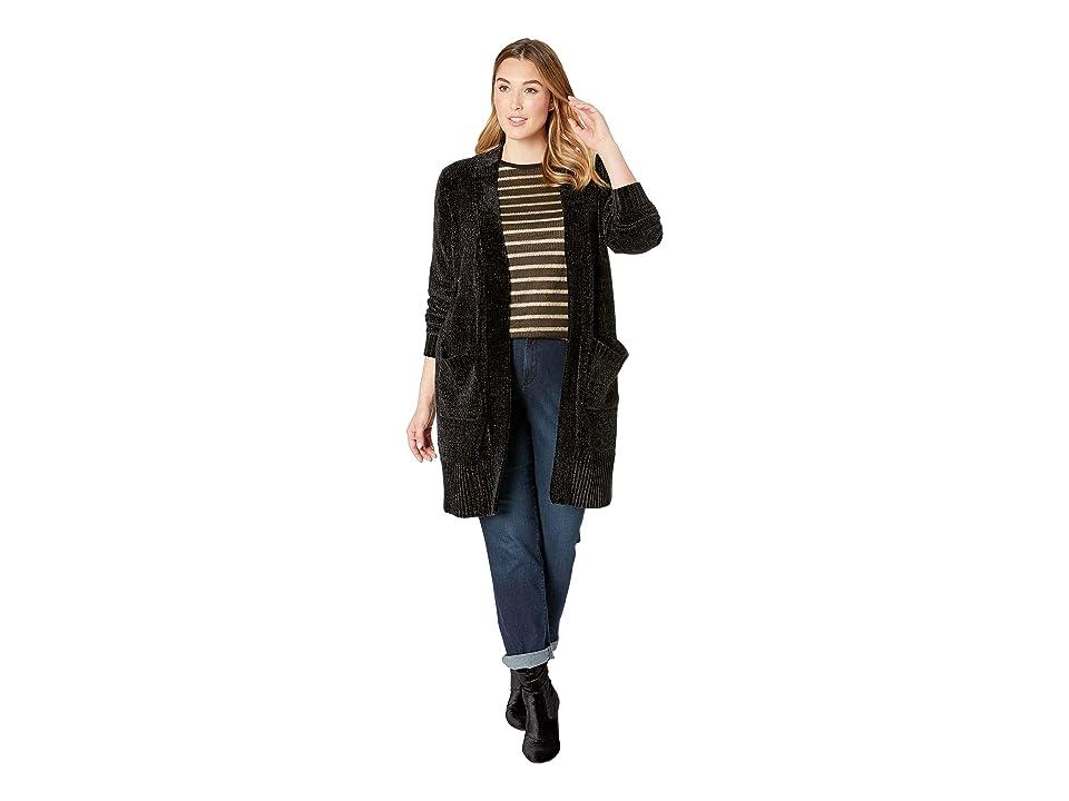 MICHAEL Michael Kors Plus Size Velvet Coatigan (Black) Women
