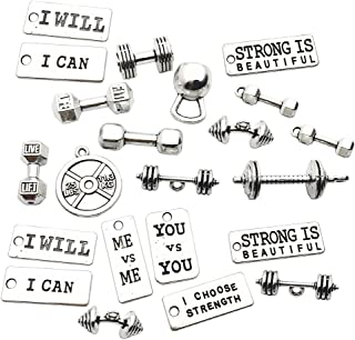 100g Sports Equipment Charms Collection - Mixed Silver Barbell Dumbbell Kettle Bell Weightlifting Rectangle Word Metal Pendants for Jewelry Making DIY Findings (HM39)