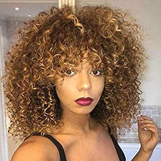 Pelucas sintéticas rizadas Afro para las mujeres negras Peluca rizada rizada rizada marrón corta Peluca Fluffy del aspecto natural a prueba de calor completa con 1 Gorros de Peluca de Nylon Elástico