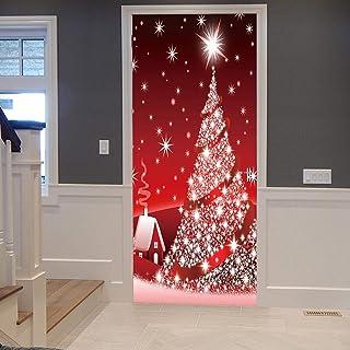 AKSBHC Murale per Porta Personalizzato Rimovibile 3D 95x215CM Vacanza Rosso Albero di Natale luci PVC Autoadesivo Rimovibi...