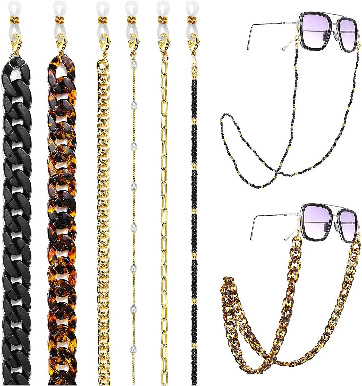 6 Pcs Sunglasses Chain Strap Holder for High quality new Women quality assurance Black Bead Acrylic