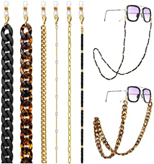 17 كيلو متر 6-9 قطع حامل سلسلة حزام النظارات الشمسية للنساء الأسود الاكريليك الخرز سلسلة النظارات مع مشابك حول الرقبة