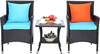 HTTH 3 Pieces Patio Porch Furniture Sets PE Rattan Wicker...