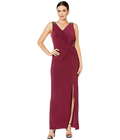 Alex Evenings Long Sleeveless Knot Front Dress with Beaded Shoulder Detail (Wine) Women