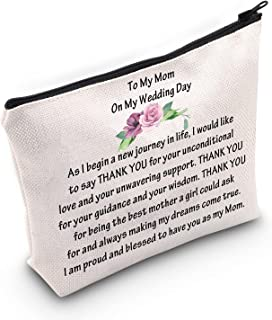 Mother of The Bride Groom Wedding Cosmetic Makeup Bag Bridal Shower Engagement Gift To My Mom Travel Makeup Pouch, to my m...