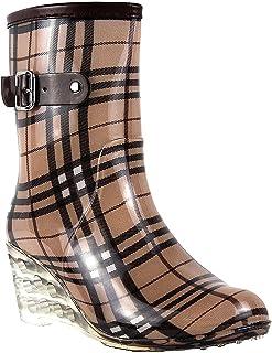 Wealsex Mujer Cuñas Cuatro Estaciones Moda Botas De Lluvia Transparente Zapatos De Agua Cremallera Lateral con Hebilla Ant...