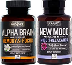 Onnit Alpha Brain - New Mood Nootropic Stack | Supports Optimal Cognitive Function and Mood, Combo Pack