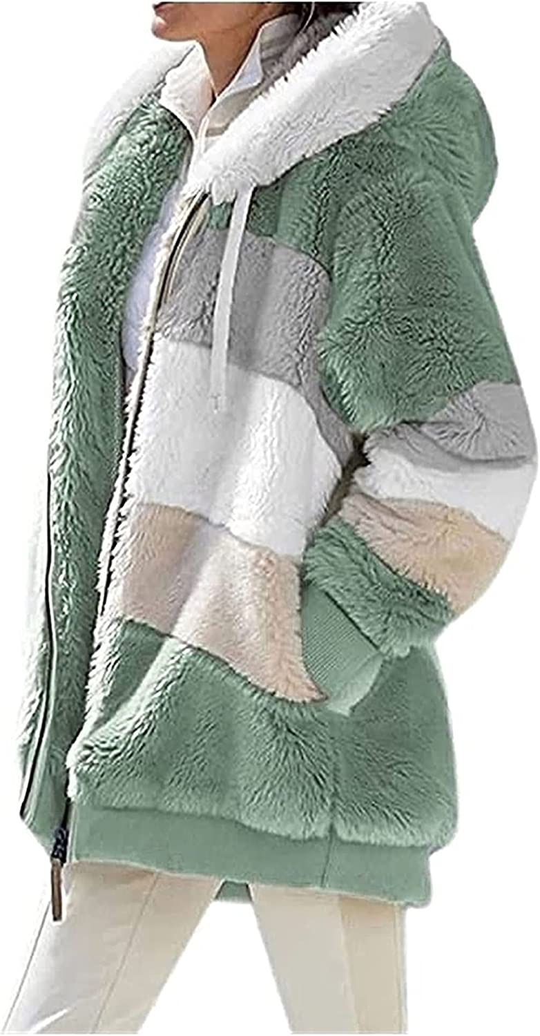 CRGSM Casual faux fur cardigan jacket with hood in soft fuzzy fabric