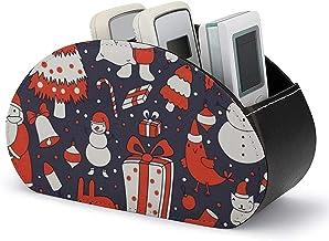 Boîte de rangement pour support de télécommande TV avec 5 compartiments-PU Cuir Noël Bonhomme de neige Lapin Oiseau Organi...