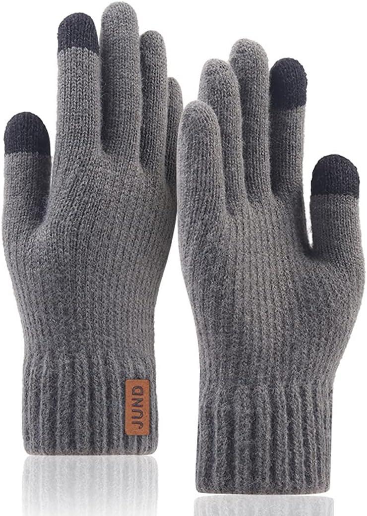 Licogel Men Winter Gloves Knit Solid Color Soft Gloves Touchscreen Gloves Warm Gloves Diving Travel Lightweight Cold