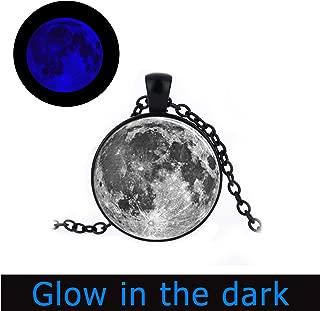 Glowlala@ Full Moon Glowing Pendant, Glow in The Dark,Full Moon Glowing Necklace, Full Moon Jewelry, Full Moon Charm