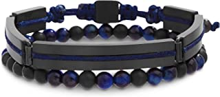 "Ben Sherman 8"" Black and Blue 2pc Rectangle Link and Beaded Bracelet Set for Men in Black IP Plated Stainless Steel"