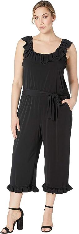 Plus Size Solid Ruffle Neck Jumpsuit