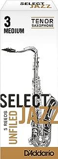 Rico Select Jazz Tenor Sax Reeds, Unfiled, Strength 3 Strength Medium, 5-pack