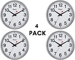 """Impecca Wall Clock 4 Pack Extra Large Classic Wall Clock, 3D Bold Clear Numbers, 18"""", Metallic Silver,"""