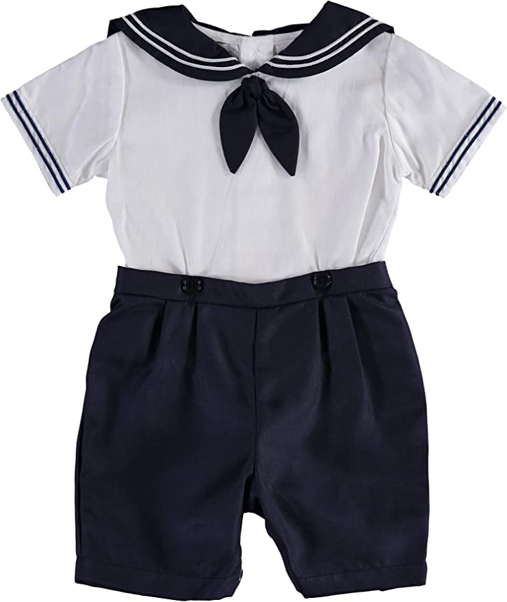 Kids 1950s Clothing & Costumes: Girls, Boys, Toddlers Carriage Boutique Boy Shorts and Shirt Set wit Sailor Collar  AT vintagedancer.com