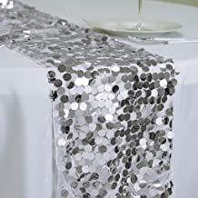 BalsaCircle 13 x 108-Inch Silver Payette XL Sequin Table Top Runner - Wedding Party Event Reception Occasions Linens Decorations