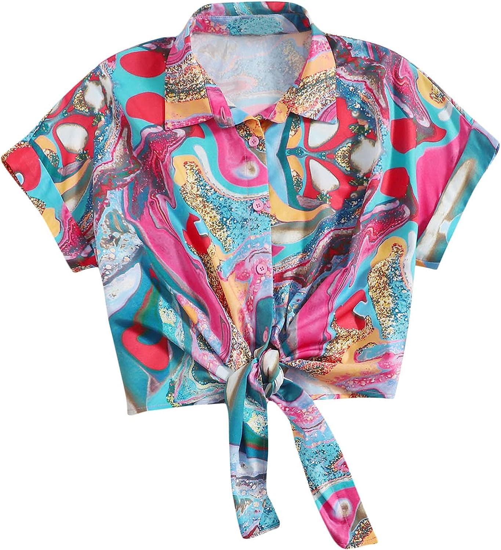 SweatyRocks Women's Short Sleeve Button Front Knot Hem Collar Blouse Shirt Top