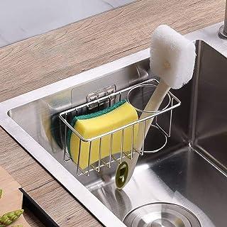 Adhesive Sponge Holder + Brush Holder, 2-in-1 Sink Caddy Organizer Storage for Kitchen Sink, 304 SUS Stainless Steel Rustp...
