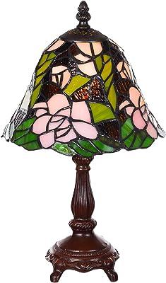 Lampe en verre de style Tiffany - Motif libellule - 8 pouces - Élégante - Rose - Style Tiffany