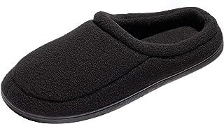 WOTTE Men's Memory Foam Slippers Plush Fleece Lined Slip On Anti-Skid Rubber Sole Winter Indoor Outdoor Shoes