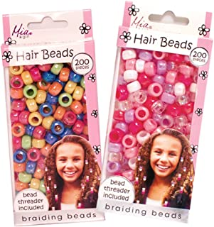 Mia Beads, 2 in 1 Hair Accessory + Jewelry Kit, Hair Ornaments, Decoration For Braids, Bracelet and Necklace Maker, Mixed Colors, For Women and Girls of all Ages, 2 Pack, 400pcs