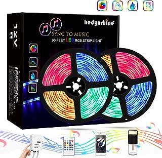 LED Strip Lights Music, Hedynshine Waterproof 33feet 300 SMD 5050 RGB Strip Lights with RF Remote, TV LED Backlight 55 65 75 85 inch, Sync to Music Led Strip Lights