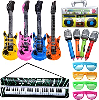 Rock and Roll Party Favors Supplies, Juego de Accesorios Inflables Rock Star, Christmas Birthday Party Gifts, Tema de Concierto Decoraciones de Fiesta, Inflatable Accesorios para Fiestas de Guitarra