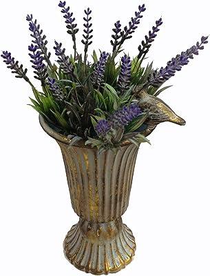 GMMH Copa de ánfora, jarrón decorativo, jarrón de flores, jarrón de metal antiguo, vintage, decoración retro (dorado)