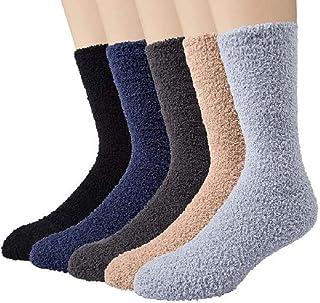 Justay, 5 pares de zapatillas-calcetines mullidos para hombre, de alta elasticidad, para invierno y para la cama, supercálidos