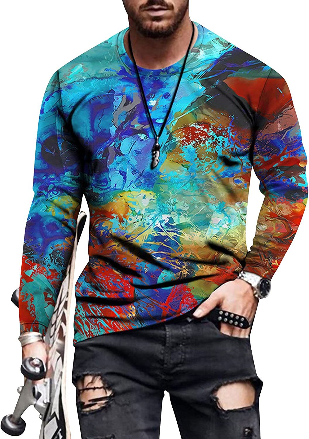 Men's Autumn Casual Long Sleeve Crew Neck T-Shirts Classic Printed Pullover Shirts Slim Fit Outdoor Sport Tops Blouse