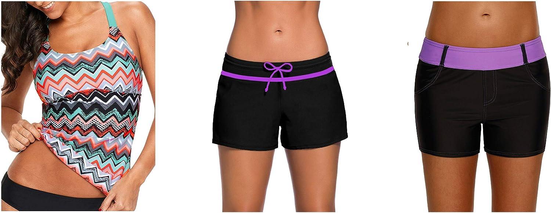 Aleumdr Womens Striped Printed Tankini Swim Top and Bottom Boy Shorts and Color Block Board Shorts Bundle