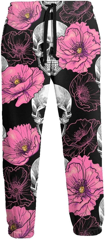 Men's Jogger Sweatpants Flower Skull Pink Poppies 3D Loose Joggers Pants with Drawstring Long Pants