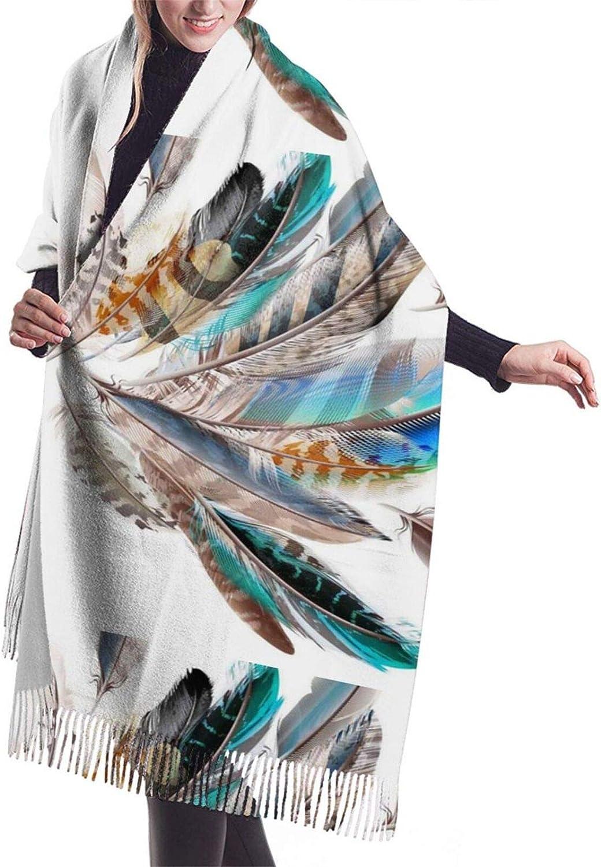 Womens Comfortable Cashmere Scarf,Colorful Feather Shawl Scarf,Premium Large Pashmina,Warm Wrap Blanket Solid Shawl Elegant Wrap