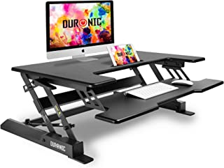 Duronic Sit Stand Desk DM05D1 PC Workstation Height Adjustable Table - Monitor and Keyboard Riser – Compatible with Monitor Arm
