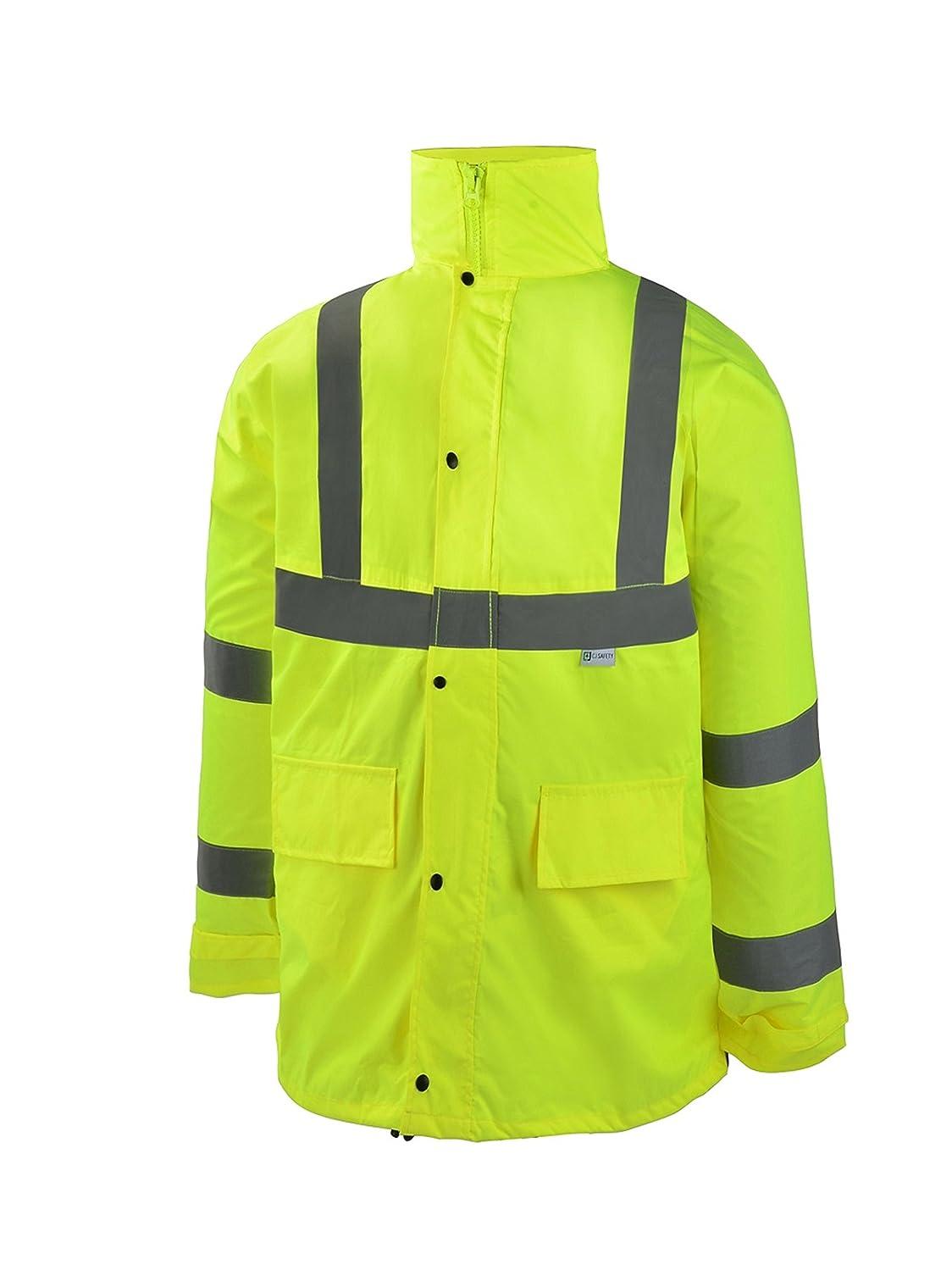 CJ Safety CJHVRJ3001 Hi Viz Safety Rain Suit Set (Jacket & Pants) (2XL/3XL)