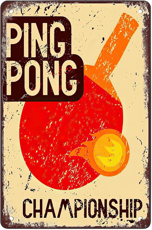Cartel de metal vintage de Ping Pong Championship, apto para cafetería, bar, tienda, decoración de pared, hogar, jardín, cocina, arte, 20 x 30 cm