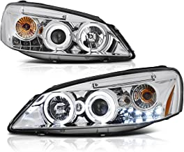 [For 2005-2010 Pontiac G6] LED Halo Ring Chrome Projector Headlight Headlamp Assembly, Driver & Passenger Side