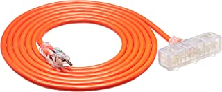 AmazonBasics Outdoor Extension Cord with Lighted 3 Outlets, Orange, 15 Foot