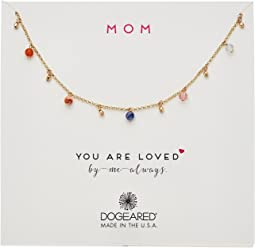 Mom, You Are Loved, Dangling Gem Necklace